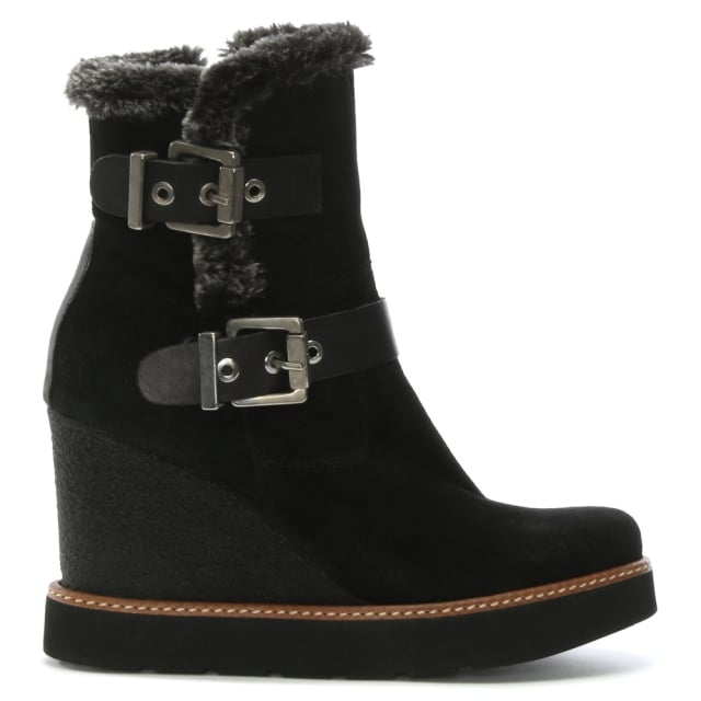 Fulmar Black Suede Double Buckle Wedge Ankle Boots