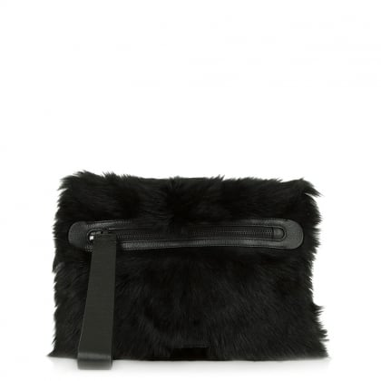 Fur Square Large Zipper Clutch