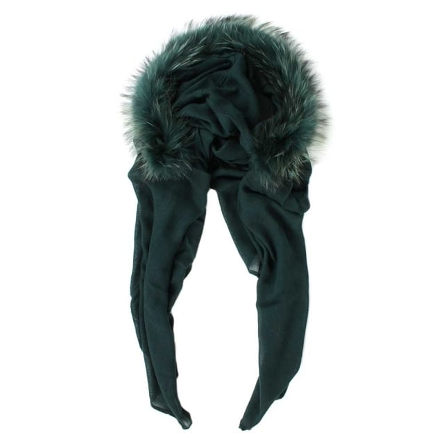 Fur Trim Green Wool Hooded Scarf