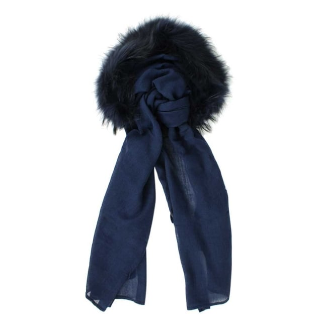 Fur Trim Navy Wool Hooded Scarf