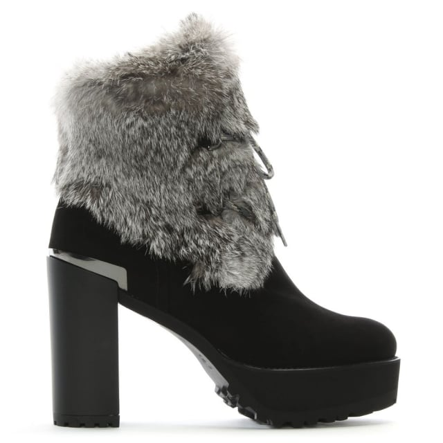 Furensic Black Suede Fur Trim Ankle Boots