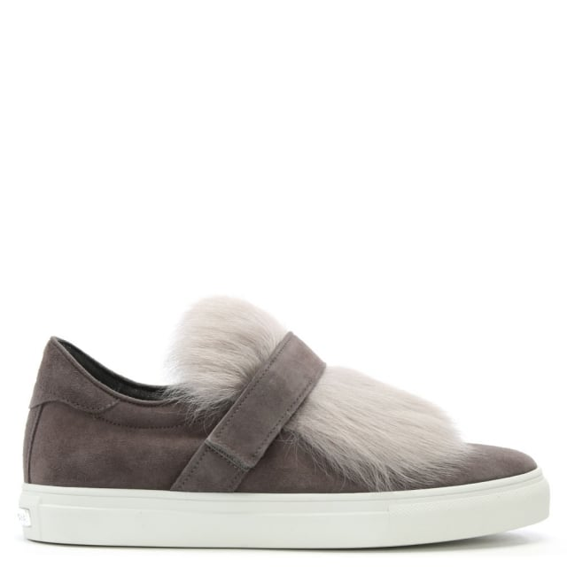 Furry Grey Suede Velcro Strap Trainers