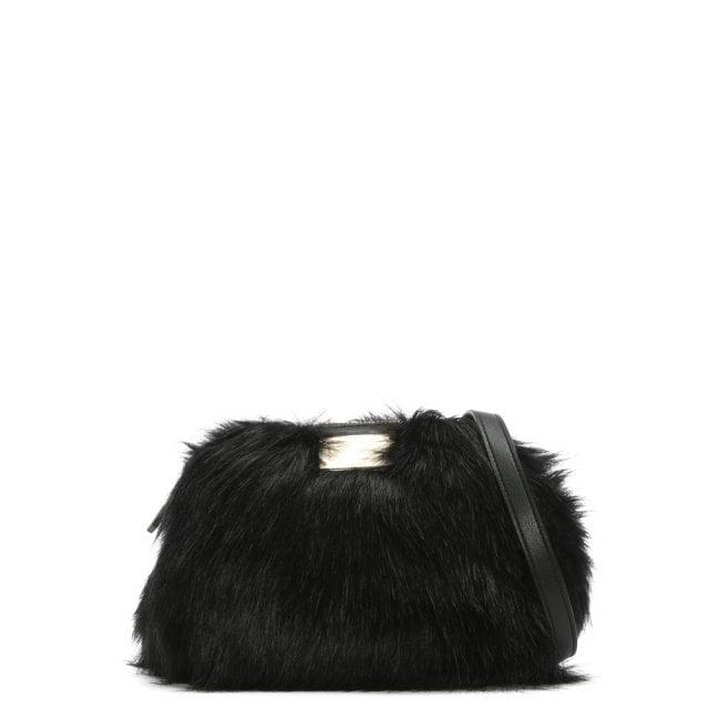 46624afce15e Emporio Armani Furry Sling Black Faux Fur Cross-Body Bag