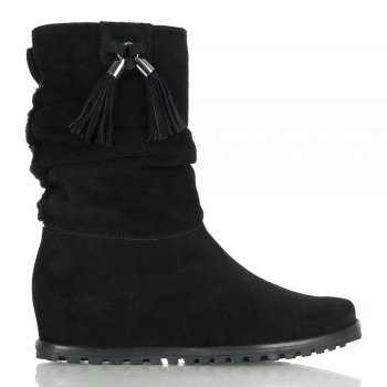 Furuched Black Wedge Calf Boot