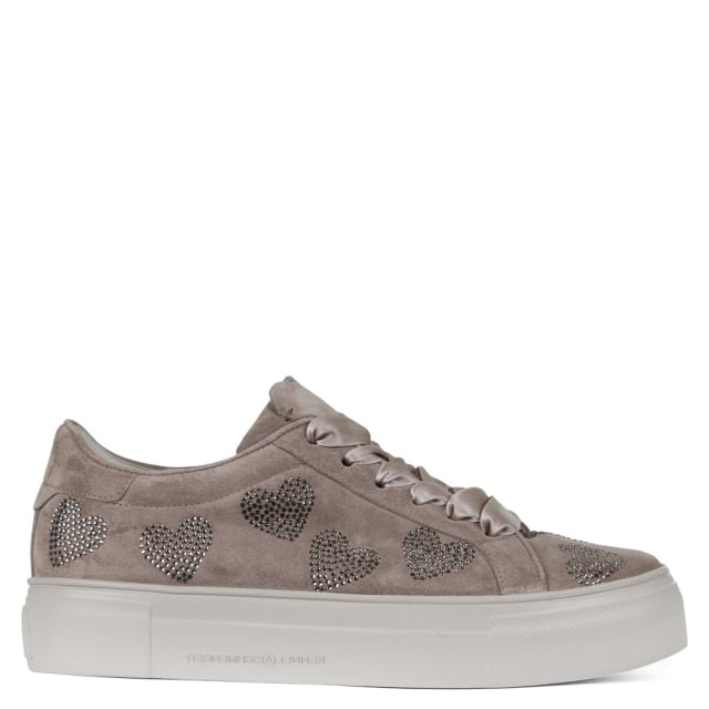 Futurama Taupe Suede Diamante Heart Trainers