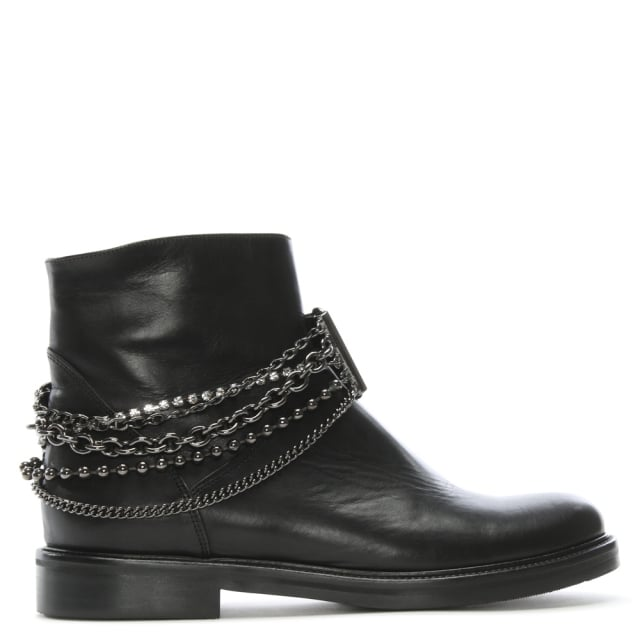 G Rotta 2N Black Leather Ankle Boots
