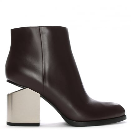 Gabi Burgundy Leather Ankle Boots