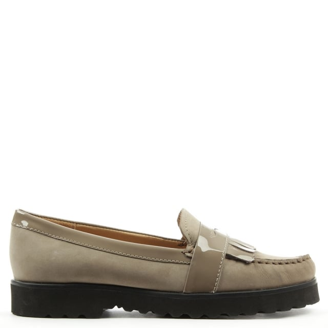 Gabriella Taupe Suede Patent Tassel Loafer