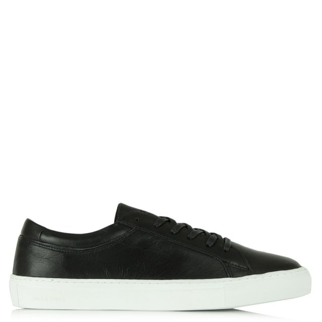 Galaxy Black Leather Lace Up Trainer