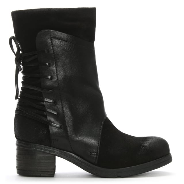 galene black leather lace back calf boots