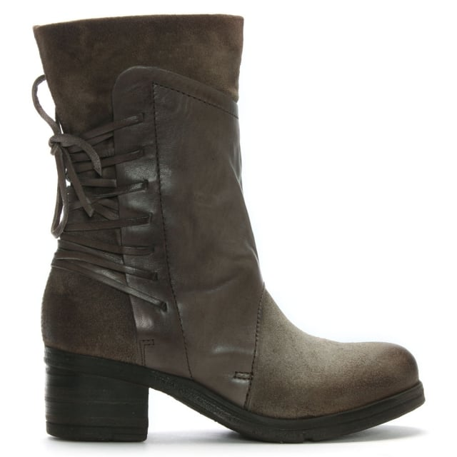 Galene Grey Leather Lace Back Calf Boots