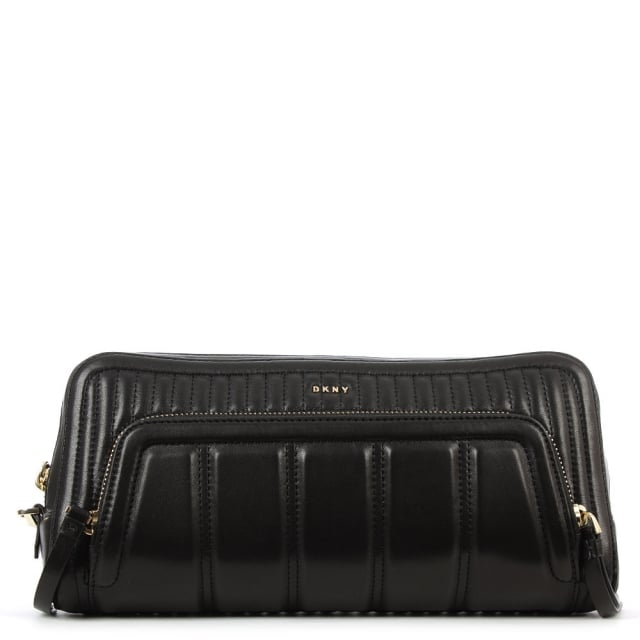 Gansevoort Black Leather Quilted Bombay Clutch
