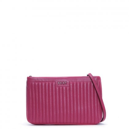 Gansevoort Pinstripe Pink Leather Cross-Body Bag