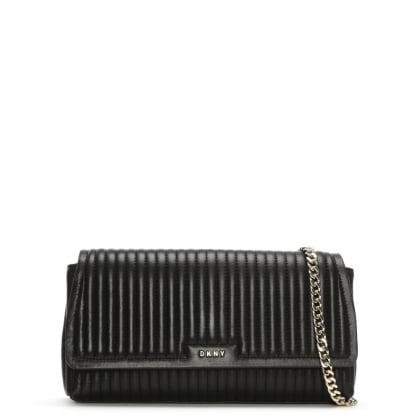 Gansevoort Pinstripe Quilted Black Leather Shoulder Bag