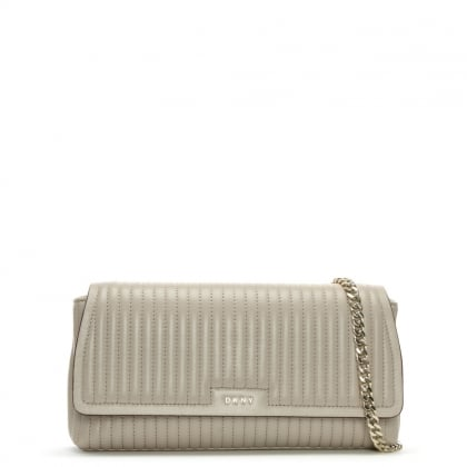 Gansevoort Pinstripe Quilted Blush Grey Leather Shoulder Bag