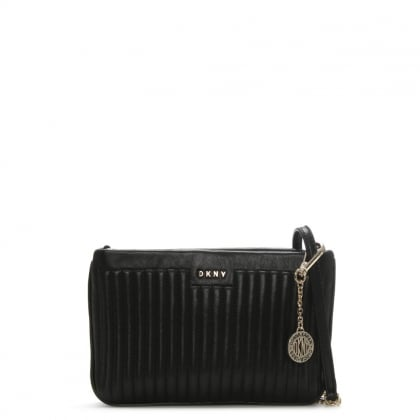 Gansevoort Quilted Pinstripe Black Leather Cross-Body Bag