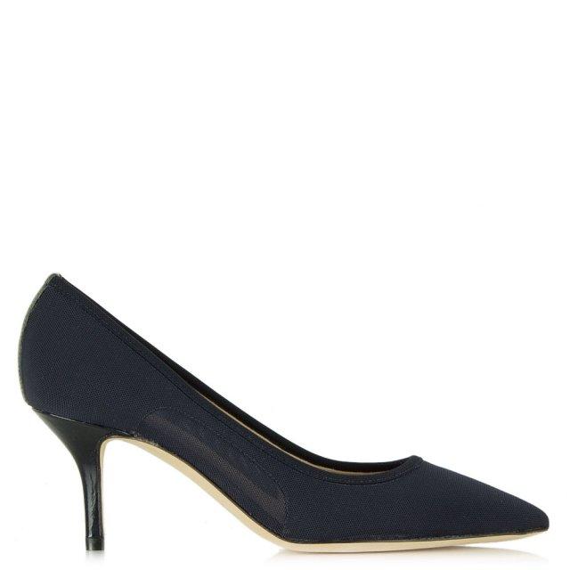 54491edfe55 Daniel Garland Navy Mesh Low Heel Court Shoe