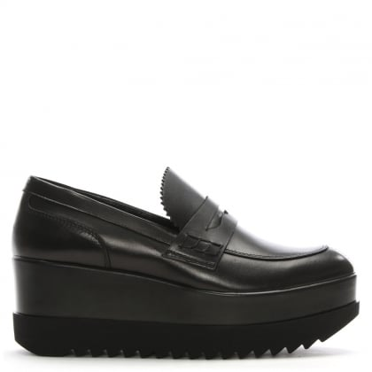 Garpike Black Leather Flatform Loafers