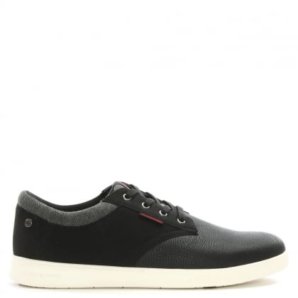 Gaston Black Leather & Canvas Lace Up Trainers