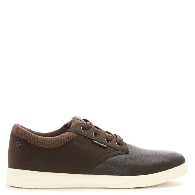 Jack & Jones Gaston Brown Leather & Canvas Lace Up Trainers