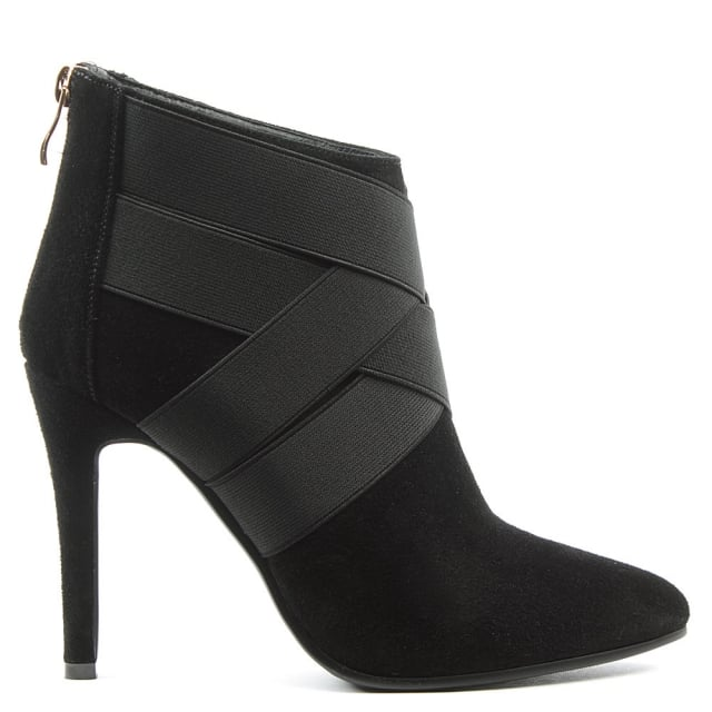 Gatacombe Black Suede High Strapped Ankle Boot