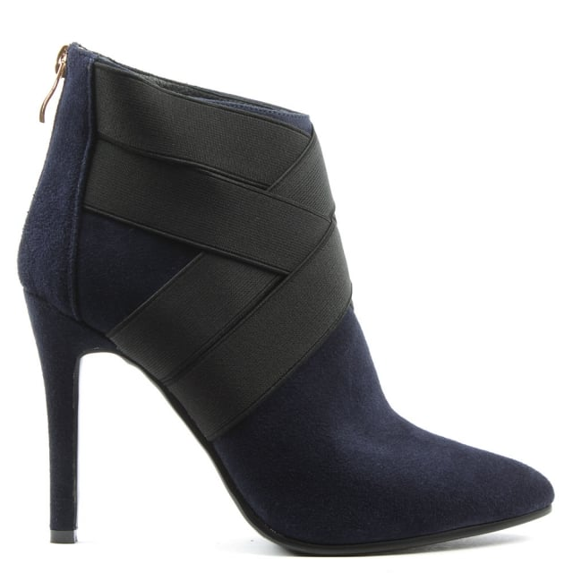 Gatacombe Navy Suede High Strapped Ankle Boot