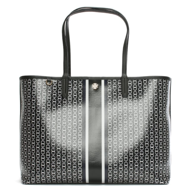 Tory Burch Gemini Link Stripe Black Coated Canvas Tote Bag