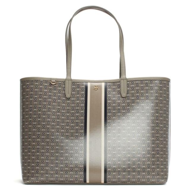 Tory Burch Gemini Link Stripe French Grey Coated Canvas Tote Bag