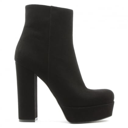 Gemma Black Suede High Block Heel Ankle Boot