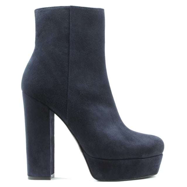 Gemma Navy Suede High Block Heel Ankle Boot