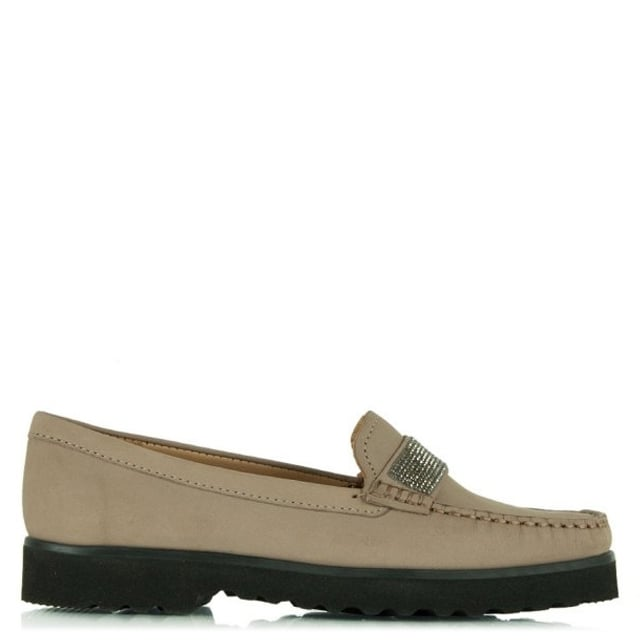 Genuine Taupe Suede Diamante Embellished Loafer