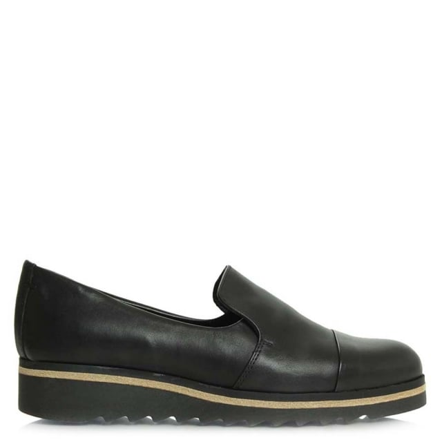 Georgetown Black Leather Low Wedge Loafer