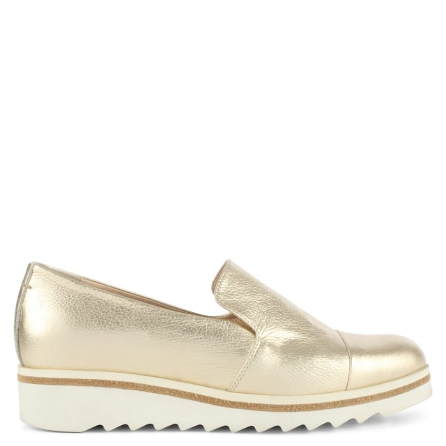 Georgetown Gold Leather Low Wedge Loafer