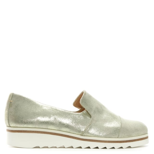 Georgetown Gold Metallic Leather Low Wedge Loafers