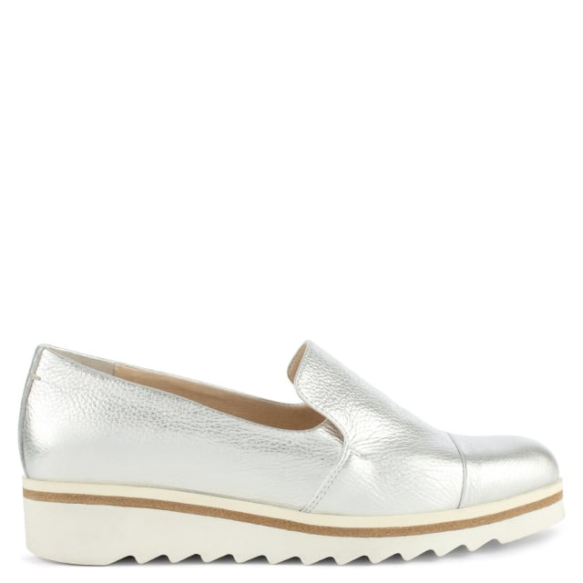 Georgetown Silver Leather Low Wedge Loafer