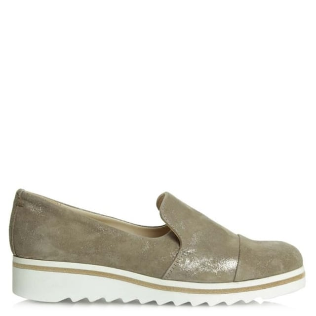 Georgetown Taupe Leather Low Wedge Loafer