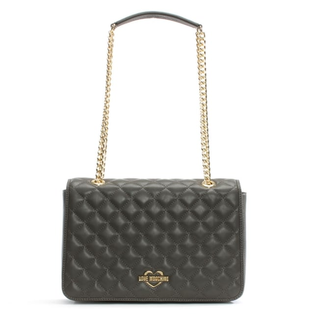 Georgia Grey Quilted Chain Shoulder Bag