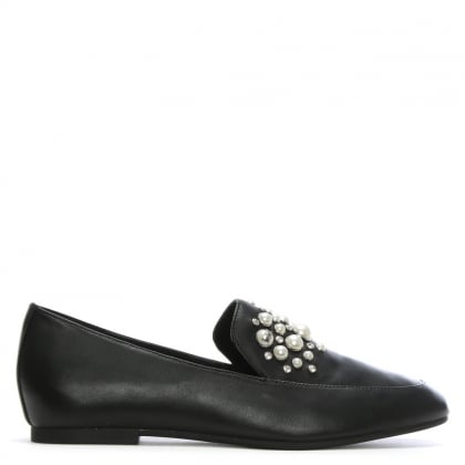Gia Black Leather Pearl Embellished Loafers