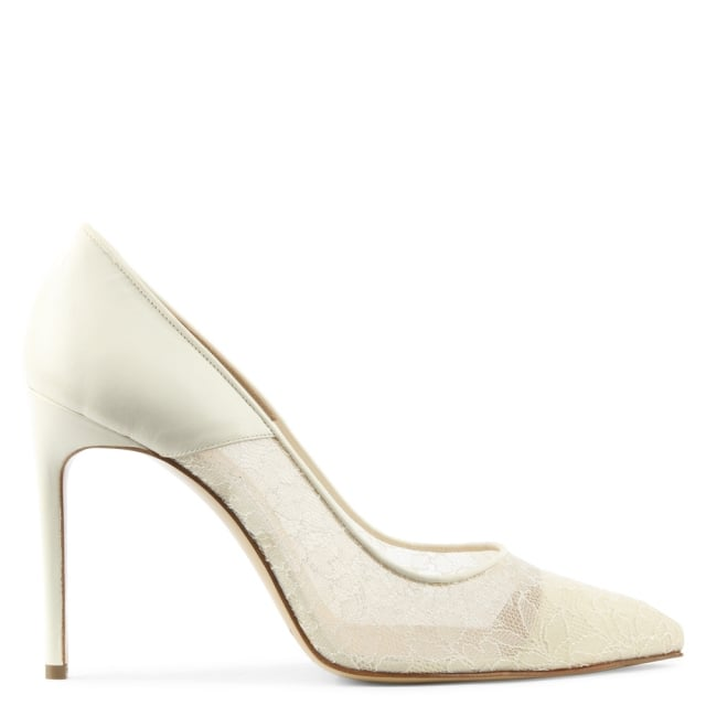 Gia Ivory Leather Lace Court Shoe
