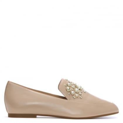 Gia Oyster Leather Pearl Embellished Loafers