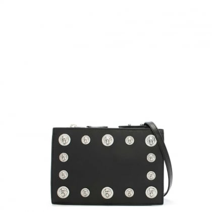Gian Black Leather Embellished Lion Head Cross-Body Bag