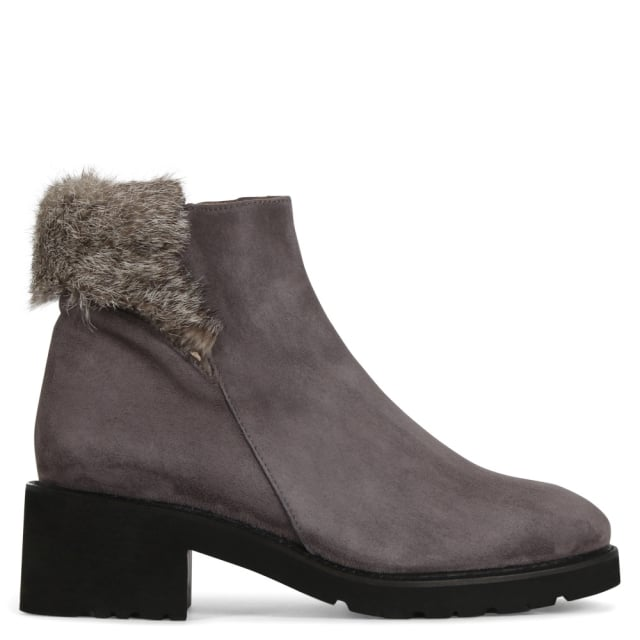 Gideon Grey Suede Fur Trim Ankle Boots