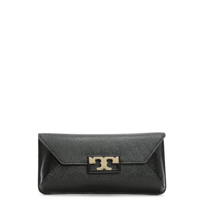 Gigi Black Leather Flapover Clutch Bag