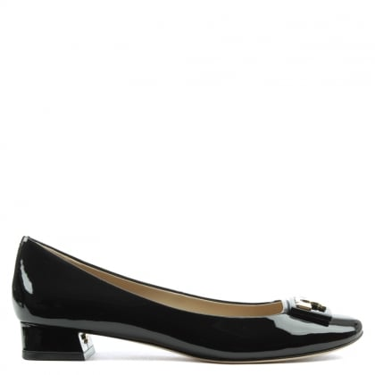 Tory Burch Gigi Black Patent Leather Block Heel Pump
