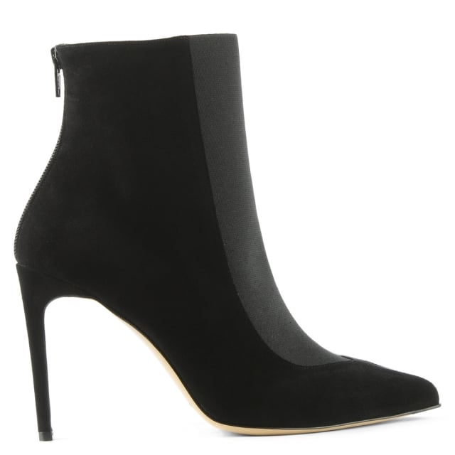 Gigi Black Suede Pointed Toe Ankle Boot