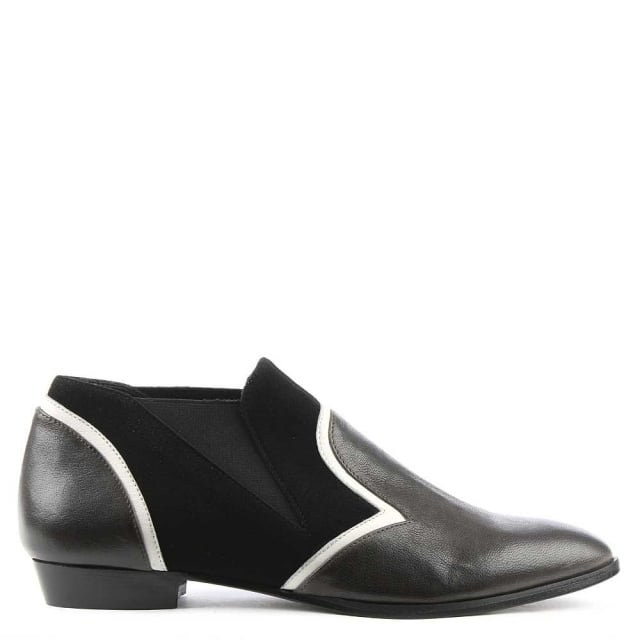 Gilda Chelsea Black Leather Contrasting Trim Shoe
