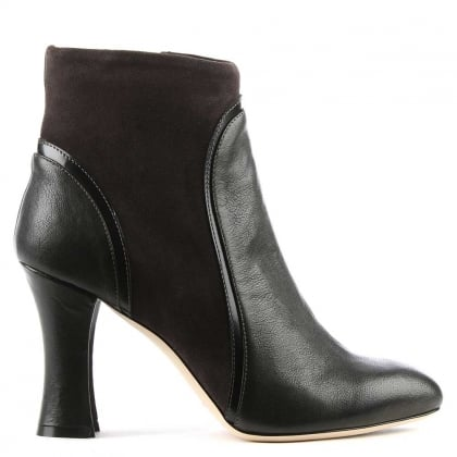 Gilda Green Leather Contrasting Trim Ankle Boot