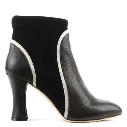 Gilda Grey Leather Contrasting Trim Ankle Boot