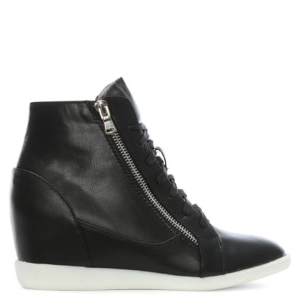 Gilpin Black Lace Up Double Zip Wedge High Tops