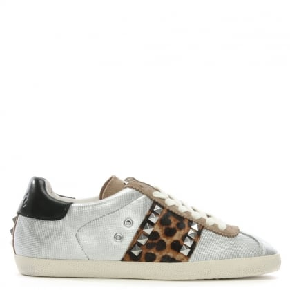 Ginger Silver Leather Leopard Panel Lace Up Trainers